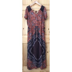Maurices lace inset mock wrap maxi dress size 14